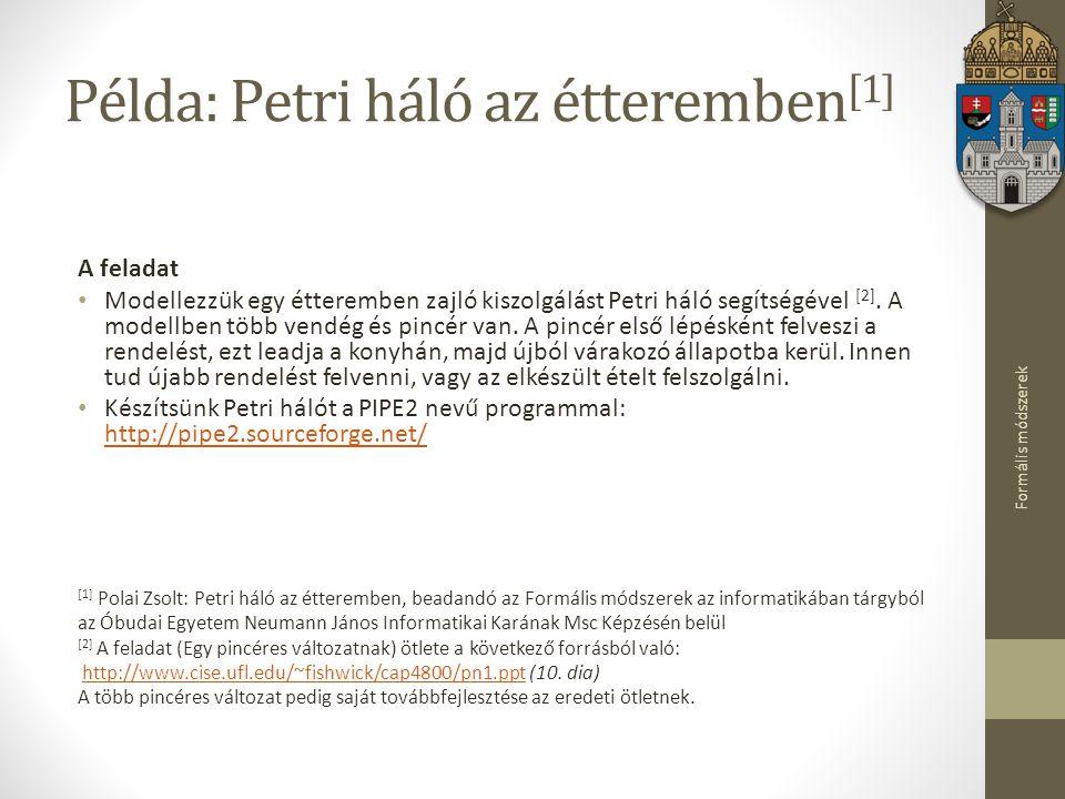 Példa: Petri háló az étteremben[1]